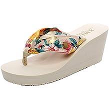 8b26d26ea1a YOUJIA Mujeres Chanclas Verano Cuñas Zapatos de Playa Satín Boho Plataforma  Zapatillas Estampado