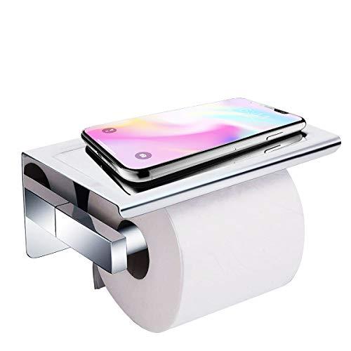 Acelink Toilettenpapierhalter ohne Bohren Selbstklebend Klopapierhalter mit Ablage aus SUS304 Edelstahl für Badzimmer