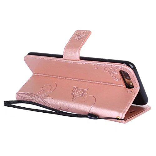Hülle für iPhone 7 plus , Schutzhülle Für IPone 7 Plus, Horizontale Bookstyle Flip Case Premium PU Ledertasche, Solid Color Embossed Blumen Schutzhülle Tasche Tasche mit Lanyard & Stand ,hülle für iPh Rose gold
