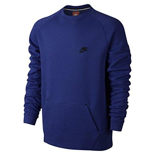 Nike Herren Sweatshirt Tech Fleece crew-1mm XL Azul (Deep Royal Blue / Negro) (Herren Nike Tech Flat)