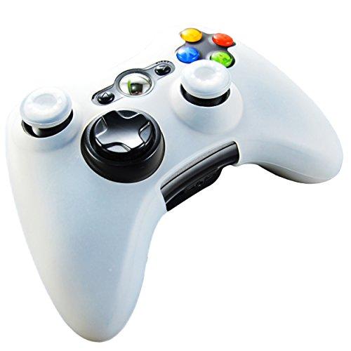 Pandaren® Pelle cover skin per il Xbox 360 controller(bianco) x 1 + pollice presa x 2