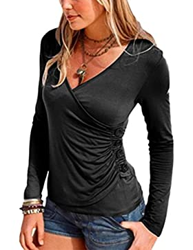 La Mujer Es Elegante De Manga Larga Con Cuello En V Profundo Sobrepelliz Acanalada Button Up Bodycon T Shirt Tops...