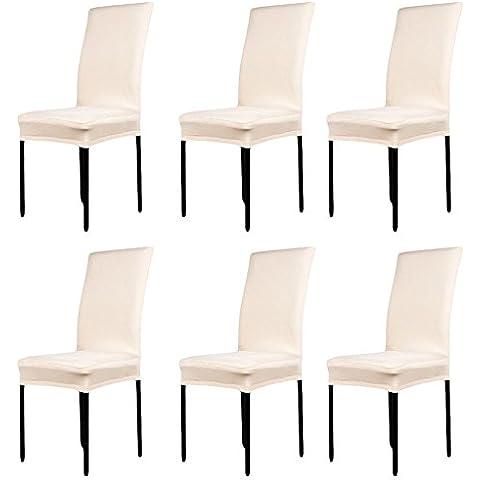 LianLe® 6pcs Fundas para sillas, fundas elásticas, cubiertas para sillas,color Champagne