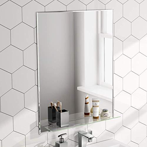 Soak specchio di design per bagno con mensola in vetro, da parete, 600 x 800 mm