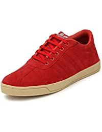 FALCON Stylish Red Suede Leather Corporate Office Casual Sneakers Lace-Up Derby Shoes For Men