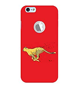 FUSON Leopard Cheetah Running 3D Hard Polycarbonate Designer Back Case Cover for Apple iPhone 6S (Logo View Window Case)