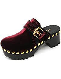 Car Shoe B9704 Zoccolo Donna Scarpa Sandalo Velluto Borchie Bordeaux Shoe  Woman 1f2c5f87110