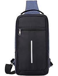 DINGXINYIZU Bolsa de Pecho Mochila de Hombro con Puerto de Carga USB Bag Impermeable Ajustable para Negocio Viaje Ciclismo Negro/Azul/Gris 36 * 19 * 9cm