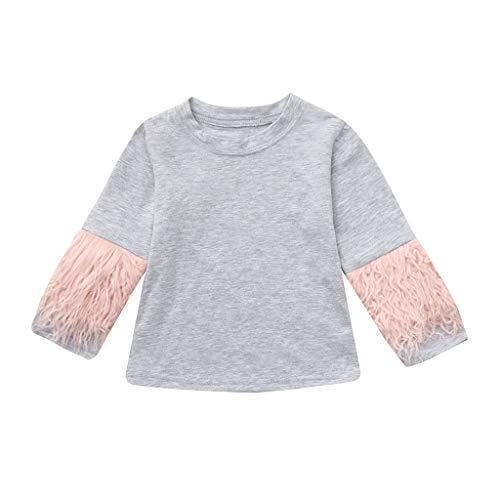 Giulogre Enfant T-Shirt à TImprimé Uni T-Shirt Tout-Petit Manches Longues Patchwork Shirt Fourrure d'épissage Moelleux pour 6Mois - 3Ans Bébé Fille