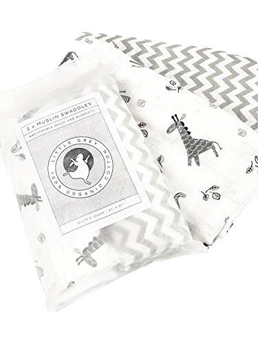 Bio Baby Musselin Wickeltücher von Little grau–120cm x 120cm–2Stück 100% Bio-Baumwolle–Luxus Designs für Baby- und Kinderzimmer–perfekte Stillen, Kinderwagen, Spucktuch, Baby Dusche Geschenk (Vorteil Tröster)