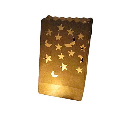 Kakiyi Doppel-Herz-Stern Flammenhemmende Papier Kerze Partei Luminary Tasche Feuerbeständige Tasche