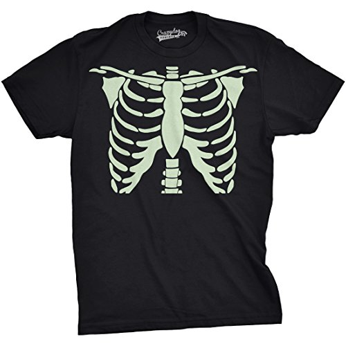 Crazy Dog Tshirts Mens Glowing Skeleton Rib Cage Cool Halloween T Shirt (Black) L - Herren - - Witze Halloween Nerdy