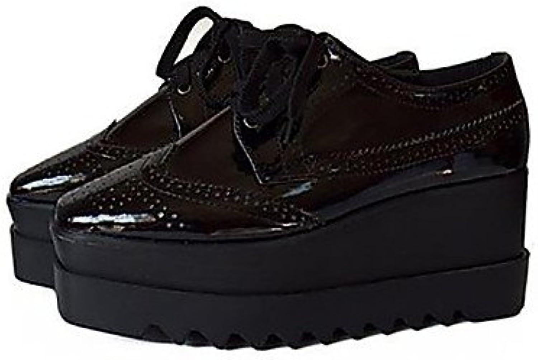 ZQ hug Zapatos de mujer-Plataforma-Creepers / Puntiagudos / Punta Cerrada-Oxfords-Casual-Semicuero-Negro , black-us8.5...
