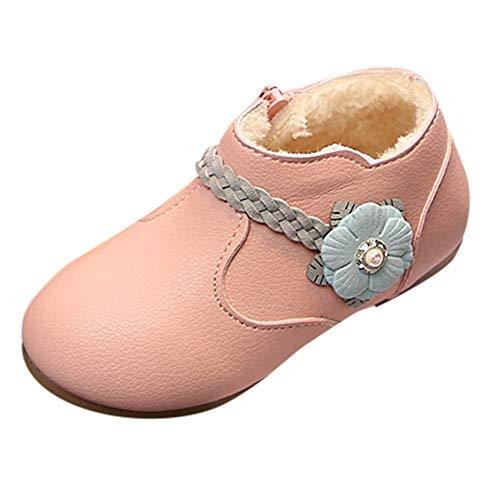friendGG❤️❤️ Kinderstiefel Mädchen Stiefel Ankle Boots Schneeschuhe Chelsea Stiefel Kurzschaft Stiefel Winterschuhe Boots Plus Samt Warm bleiben Einfarbig Reißverschluss Stiefelette (Blink-ankle Boot)
