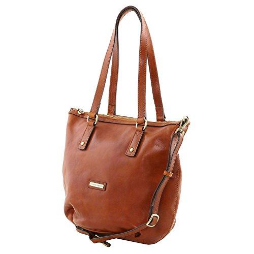 Tuscany Leather Olga - Sac shopping en cuir - Grand modèle - TL141484 (Marron foncé) Miel