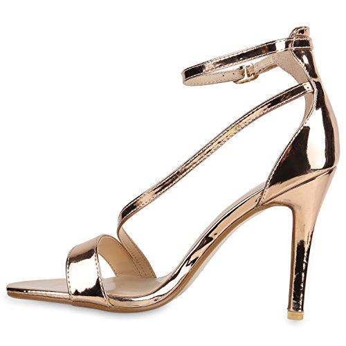Party Damen Sandaletten | Glitzer High Heels | Plateau Sandaletten Strass Nieten | Damenschuhe Snake Lack | Stilettos Schnallen Schuhe Rose Gold Lack