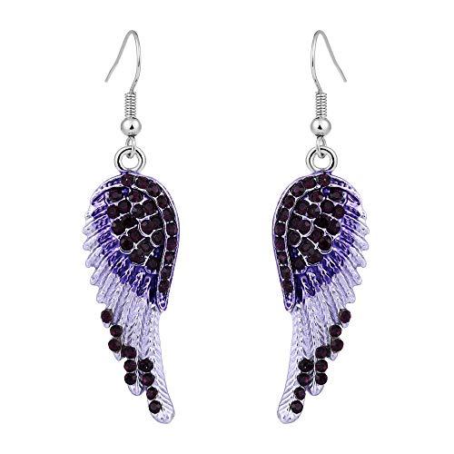 EVER FAITH® österreichischen Kristal elegant Art Deco Engel Vogel Flügel Anhänger Ohrring Lila2 Silber-Ton