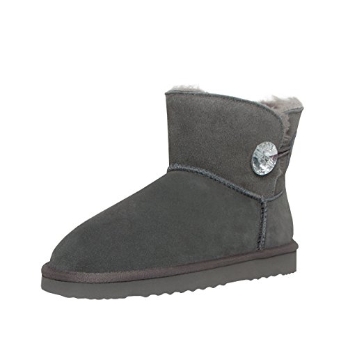 SKUTARI Wildleder Damen Winter Boots | Warm Gefüttert | Schlupf-Stiefel mit Stabile Sohle | Bling Diamant Pailletten Knopf Schuhe (39, Grau/5034) (Fransen Flache Mokassin Stiefel)