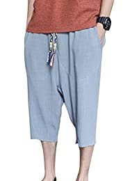 1cf767bcc44 Laina Men Harem Trousers - 3 4 Cropped Capri Trousers Linen Soft  Comfortable Loose Solid Color Casual Trousers…