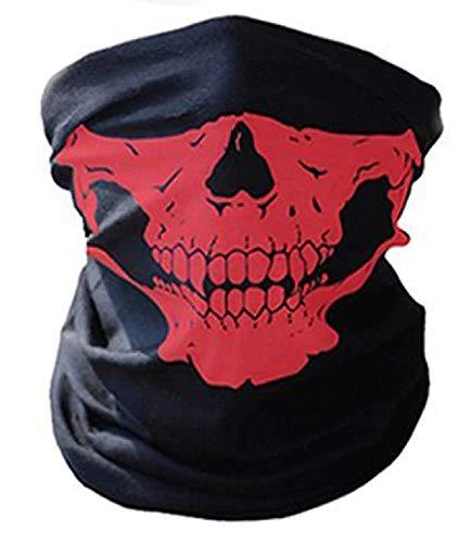 Inception Pro Infinite Sturmhaube - Totenkopf - Halbmond - Radfahrer - Sport - Elastisch - Maske - Halloween - Cosplay - Verkleidung - Karneval - Einheitsgröße rot (Halloween-maske 2019 Rote)
