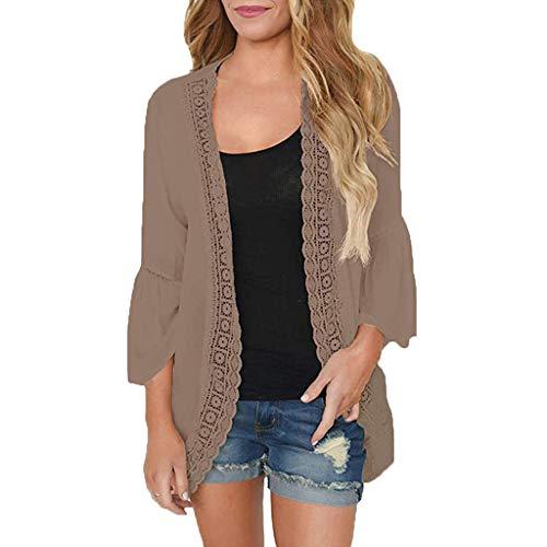 Womens Cardigan Casual Blouse Chiffon T Shirt Waterfall 3/4 Cuffed Sleeve Shirt Open Front Long Top Prime Day Chiffon Womens Schuhe