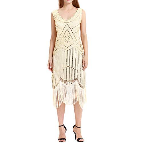 (iYmitz Damen 1920er Jahrgang Ärmelloses Pailletten Flapper Ballkleid Spitze Bekleidung Kleider Rundausschnitt (Beige,EU-40/CN-XL))