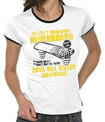 Hoverboard-saut dans le futur vintage girlie ringer t-shirt pour femme Blanc Blanc L