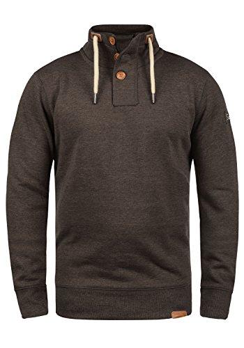 SOLID TripTroyer Herren Sweatshirt Pullover Sweater mit Stehkragen aus hochwertiger Baumwollmischung Coffee Bean Melange (8973)
