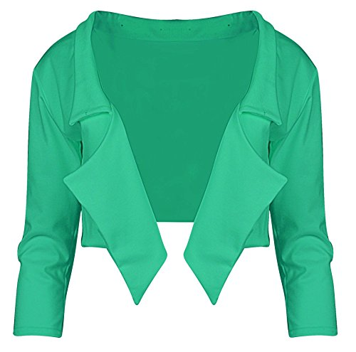 Mesdames Femmes 3/4 Eau manches Automne Veste Blazer Recadrée Vert