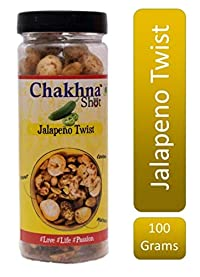 Chakhna Shot Jalapeno Twist Flavour Jar – Pass time Snack – Ready to Eat Premium Healthy Indian Spicy Snack Mix – Masala Cashew Nuts, Peanuts and Foxnuts Mix Jar 100g (Pack of 1)
