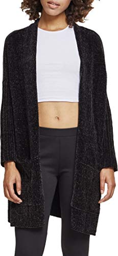Urban Classics Damen Strickjacke Ladies Oversize Chenille Cardigan, Schwarz (Black 00007), Medium