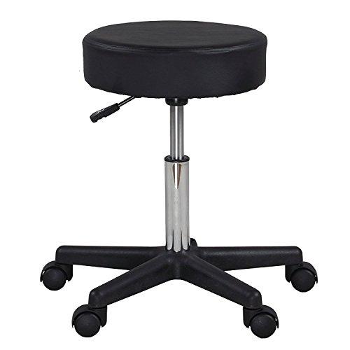 Display4top Black Adjustable Rolling Cushion Tattoo Massage Hydraulic Salon Stool,5 Wheels