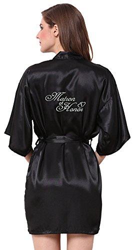 Peignoir Dessous (JOYTTON Damen Satin Kimono Hochzeit Bademantel mit bestickter Matron of Honor Short - Schwarz - X-Large (Büste 99/109 cm/US 8/12))