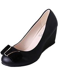 DIMAOL Zapatos de Mujer PU Primavera Tacones Confort Bajo el Talón Redondo Para La convergencia Casual Negro Beige