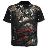 Taglia XL - C07 - T-shirt - Maglietta - Maglia - 3D - Maniche Corte - Uomo - Donna - Unisex - Divertenti - Regalo - Accessori - Cosplay - Travestimento - Pistolero - Pirata - Gotico Corsaro Pistola