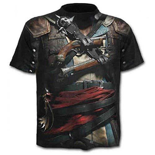68f18e2c03 Talla L - C07 - T-Shirt - Camiseta - 3D - Mangas Cortas - Hombre - Mujer -  Unisex - Divertido - Regalo - Accesorios - Cosplay - Mascarada - Pistolero  ...