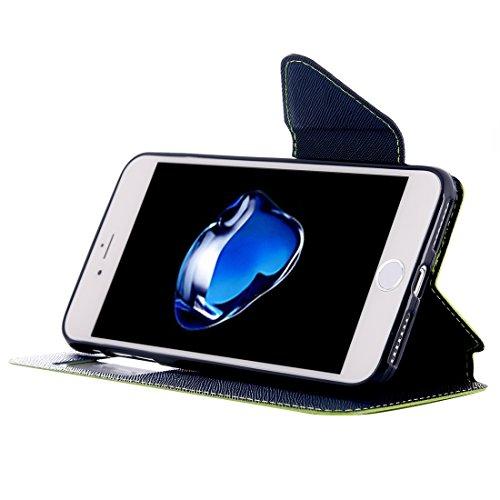 Hülle für iPhone 7 plus , Schutzhülle Für iPhone 7 Plus Kreuz Textur Horizontale Flip Leder Tasche mit Call Display ID & Halter & Card Slot ,hülle für iPhone 7 plus , case for iphone 7 plus ( Color :  Green