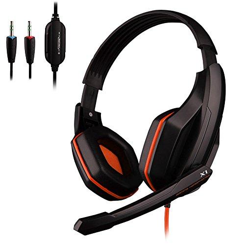 Ovann X1 professionale Esport gioco stereo basso cuffia cuffia auricolare sopra l'orecchio 3.5mm hanno fissato con microfono per PC Computer portatile (arancio)