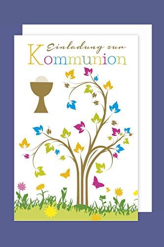 Kommunion Einladungen Karte 5er Set Kelch Lebensbaum 5 Grußkarten C6 neu 2018