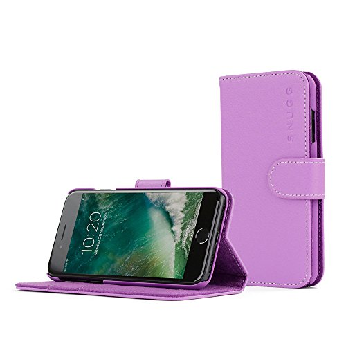 Cover-iPhone-7-Snugg-Apple-iPhone-7-Flip-Custodia-Case-Slot-Per-Schede-Pelle-Portafoglio-Progettazione-Esecutiva-Garantita-a-Vita-Viola-Legacy-Range