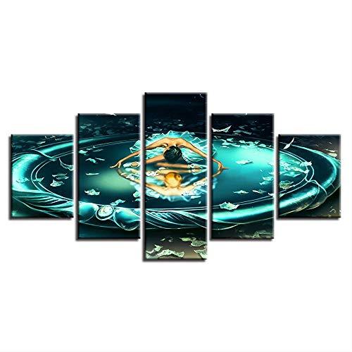 Leinwand Gemälde Wandkunst HD Drucke 5 Stück Zwillinge Tanzen Sternzeichen Poster Modulare Wohnzimmer Comic Bilder Wohnkultur Größe 2 kein Rahmen