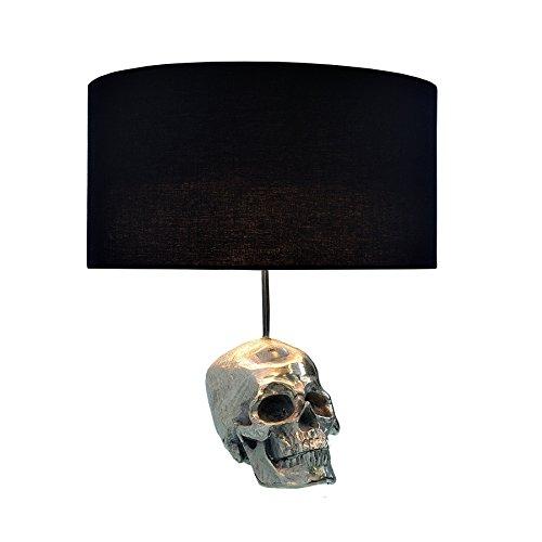 77f2f348f379e8 Extravagante Tischlampe SKULL 44cm Totenkopf silber Tischleuchte  Stoffschirm schwarz
