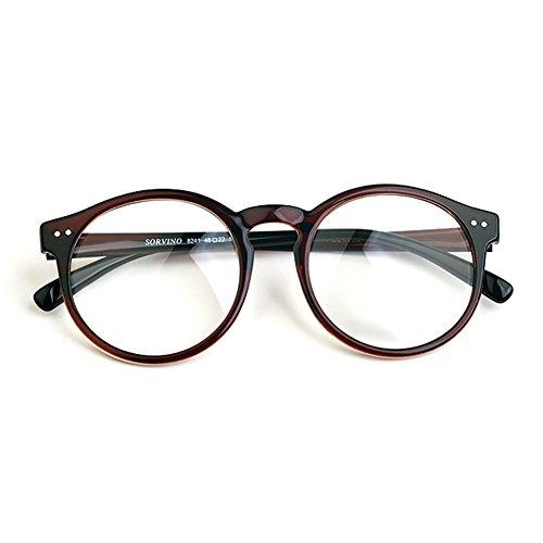 1920s Nerd Brille filigran rund Glasses Klarglas Hornbrille treber 41R82 Brown MADE IN KOREA