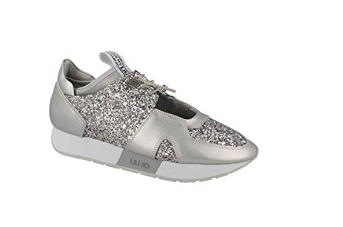 Liu Jo Sneaker Femme Sandal Margot Pelle Strass laminé Silver