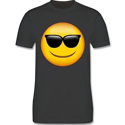 Comic Shirts - Emoji Sonnenbrille - Herren T-Shirt Rundhals Dunkelgrau