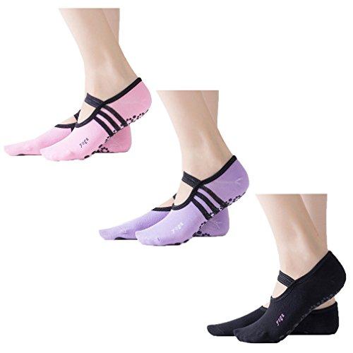 Z-chen 3 paia di calzini antiscivolo per yoga pilates danza da donna - eu 34-40