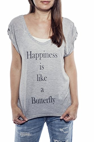 Ella Manue Frauen V-Neck Shirt Happiness is like a Butterfly Print Grau