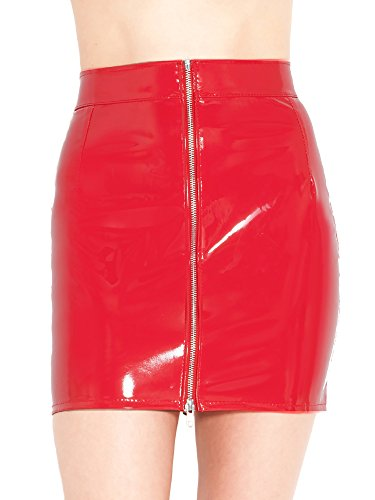 Honour-Womens-Sexy-Mini-Skirt-in-PVC-Red-Front-Zip-PVC-Isabella-Style
