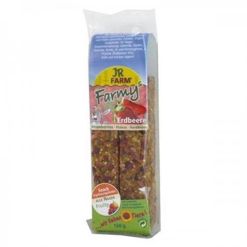 8 x JR Farm FARMYs Erdbeere 160g, Kleintiertrockenfutter, Leckerli für Kleintiere - Jr-erdbeere
