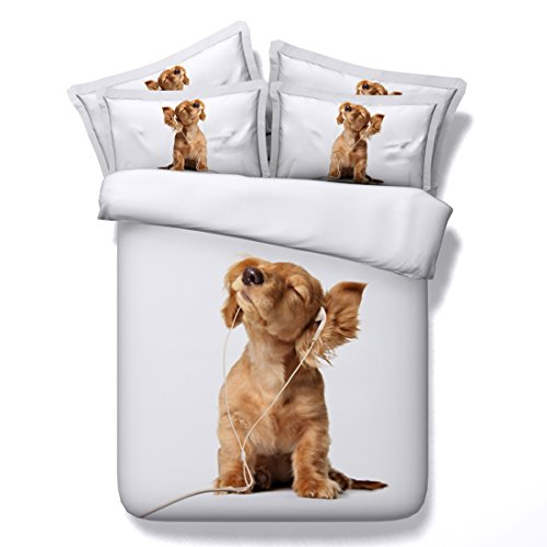 Cnspin Hunde Print 3D Bettwäsche Set Kind Schlafzimmer Set Weiche Mikrofaser Bettbezug Sets 3 Teilige 1 Bettbezug,2 Kissenbezüge, A, 200X230Cm